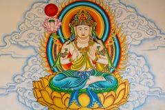 Buddhamålning på väggen Royaltyfri Fotografi