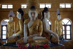 Buddhas в пагоде kyaikmaraw стоковое изображение rf