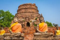 Buddhas на виске Wat Yai Chai Mongkol в Ayutthaya, Thail стоковое изображение rf