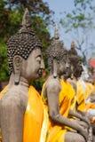 Buddhas на виске Wat Yai Chai Mongkol в Ayutthaya, Thail стоковые изображения rf