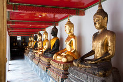 Buddhas. Line of sitting Buddhas at the Wat Pho temple, Bangkok, Thailand Royalty Free Stock Images