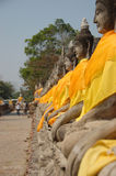 Buddhas. In a row in Ayuthaya, Thailand Stock Image