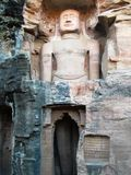 Buddhas antique dans la roche de Gwâlior/d'Inde images libres de droits