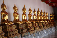 Buddhas in Bangkok temple Royalty Free Stock Image