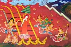Buddhas Biografie: Gehen Sie vom Himmel zurück Stockbild