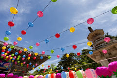 Buddhas birthday. Gyeongiu, South Korea - May 17, 2013: There are a lot of hanging lanterns for celebrating the Buddhas birthday at the Bulguksa Temple, Gyeongiu Stock Photo