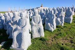 Buddhas di pietra della scultura Fotografia Stock Libera da Diritti