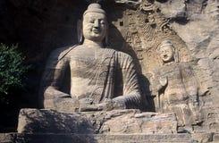 Buddhas em cavernas de Yungang, China fotografia de stock royalty free
