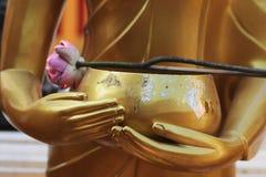 Buddhas Hände mit einer Schale und einer Lotosblume - Thailand Stockfotografie