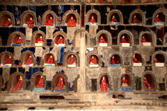 Buddhas inside at wall pagoda of Nyan Shwe Kgua temple in Myanmar. Royalty Free Stock Photo