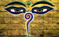 Buddhas-Klugheit Augen lizenzfreie stockfotografie