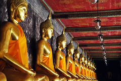 Buddhas. Statues of Buddha in the Buddhist temple in Bangkok; Thailand Royalty Free Stock Photos