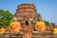 Buddhas at the temple of Wat Yai Chai Mongkol in Ayutthaya,Thail Royalty Free Stock Image