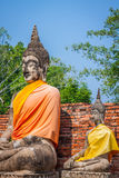 Buddhas at the temple of Wat Yai Chai Mongkol in Ayutthaya,Thail Stock Image
