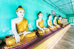 Buddhas and wall in temple, Sagaing hill, Mandalay, Myanmar Royalty Free Stock Photography