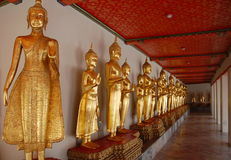 Buddhas at Wat Pho long gallery Royalty Free Stock Image