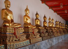 Buddhas at Wat Pho long gallery royalty free stock images