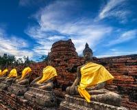 Buddhas at Wat Yai Chai Mongkhon temple. Ayutthaya, Thailand Royalty Free Stock Image