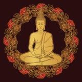 Buddhasammanträde och meditera i den enkla lotusblommapositionen Dekorativt cirkulär Thailändskt utforma inramar Guld- linjär tec Arkivfoto