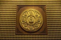 Buddhaserie på väggen i Wat-Leng-Noei-Yi2 templet, Thailand Royaltyfri Foto