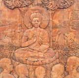 Buddhaskulpturer i templet Arkivbild