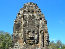 Buddhaskulpturframsida Royaltyfri Foto