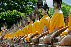 Buddhastaty i buddhismtemplet Thailand ayutthaya Fotografering för Bildbyråer