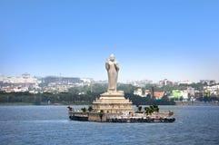 Buddhastaty i Hyderabad Arkivbilder