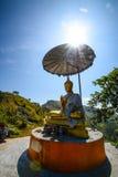 Buddhastaty, med soluppgång på Pha Tung Mountain, Thailand Arkivfoto