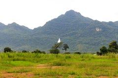 Buddhastaty på berget med molnigt Royaltyfri Foto