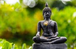 Buddhastaty på bokeh Arkivfoto