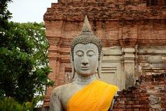 Buddhastaty på forntida slottar ayutthaya thailand Royaltyfri Bild