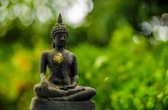 Buddhastaty på grön bakgrund Royaltyfria Foton
