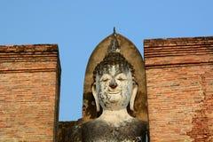 Buddhastatydetalj Wat Mahathat historisk park Sukhothai thailand Royaltyfria Foton