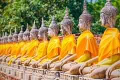 Buddhastatyer i Ayutthaya, Thailand I 1767 var staden dest Arkivfoto