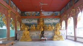 Buddhastatyer i den buddistiska templet av paradiset och helvete thailand stock video