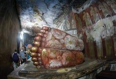 Buddhastatyer i den Dambulla grottatemplet, Sri Lanka Royaltyfri Fotografi