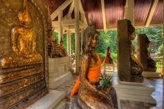 Buddhastatyer på Wat Pho Bang Khla, Chaochengsao Royaltyfria Bilder