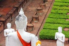 Buddhastatyer som mediterar och ber royaltyfri foto