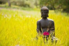 Buddhastatyett med röda blommor Arkivfoton