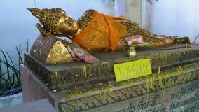 Buddhastatyn är tisdag i den buddistiska templet av Eden och helvete thailand stock video