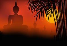 Buddhastatysolnedgång Royaltyfri Fotografi