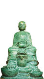 Buddhastengreen& x28; Lycklig stone& x29; Staty som isoleras på en vit bakgrund Arkivfoton