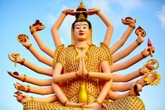 泰国地标 在大菩萨寺庙的观世音菩萨雕象 Buddhis 图库摄影