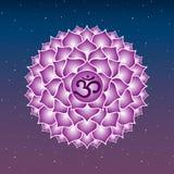 Buddhis esotéricos roxos do indiano da ioga do símbolo do ícone do chakra de Sahasrara Fotos de Stock Royalty Free