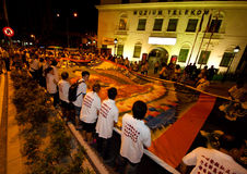 Buddhish devotees and floats at wesak procession Stock Photo