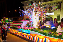 Buddhish devotees and floats at wesak procession Stock Photography