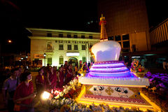 Buddhish devotees and floats at wesak procession Stock Images