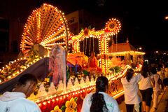 Buddhish devotees and floats at wesak procession Stock Image