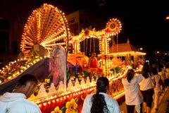 Buddhish devotees and floats at wesak procession Stock Image